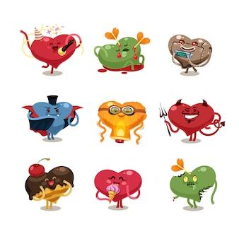 Conjunto de ícones de corações dos namorados