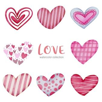 Conjunto de ícones de corações pintados com aquarela e texturas diferentes, elemento de conceito isolado em aquarela dos namorados, corações vermelhos e rosa românticos adoráveis para decoração, ilustração.