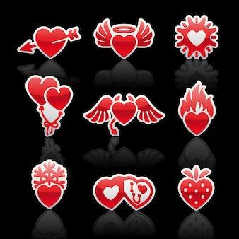 Conjunto de ícones de corações vermelhos do dia dos namorados