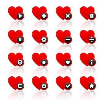 Conjunto de ícones de corações vermelhos e botões pretos