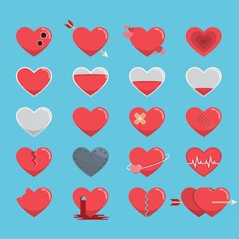 Conjunto de ícones de corações vermelhos para o dia dos namorados