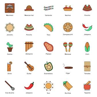 Conjunto de ícones de cores da cultura mexicana. festival cinco de mayo