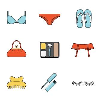 Conjunto de ícones de cores de acessórios femininos