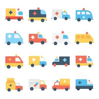 Conjunto de ícones de cores de ambulância