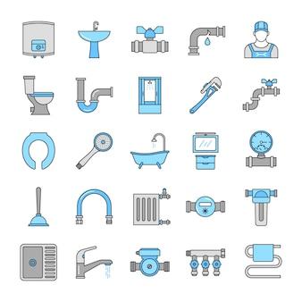 Conjunto de ícones de cores de encanamento