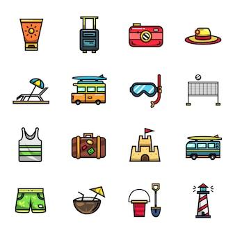 Conjunto de ícones de cores de férias de verão férias de praia