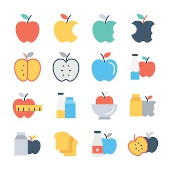 Conjunto de ícones de cores de frutas