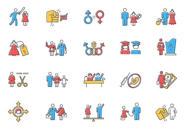 Conjunto de ícones de cores de igualdade de gênero