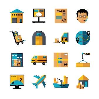 Conjunto de ícones de cores de logística