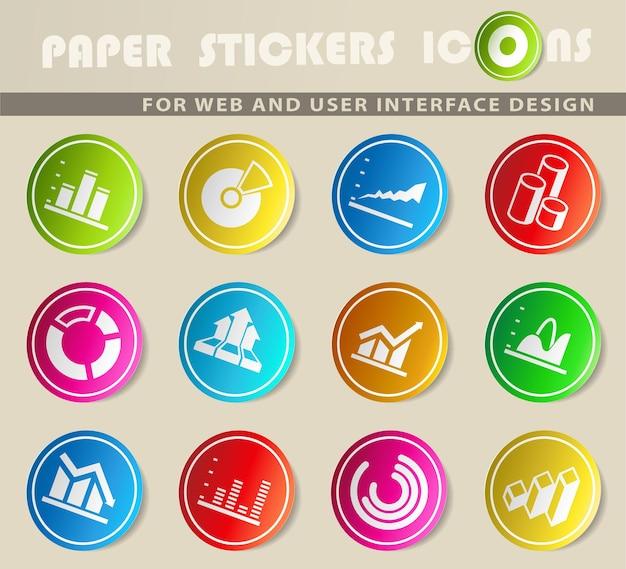 Conjunto de ícones de cores de vetor de diagrama e infográfico