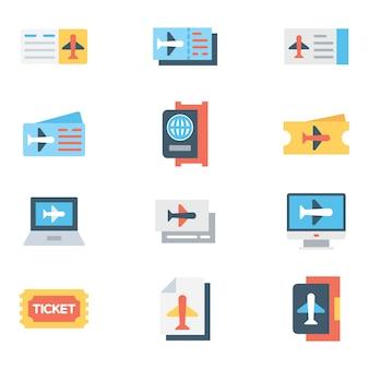 Conjunto de ícones de cores do aeroporto