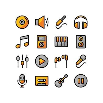Conjunto de ícones de cores lineares de música