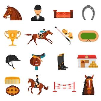 Conjunto de ícones de cores planas com equipamento de cavalo