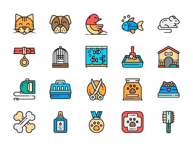 Conjunto de ícones de cores planas de clínica veterinária.