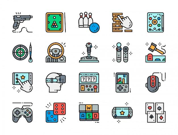 Conjunto de ícones de cores planas do jogo.
