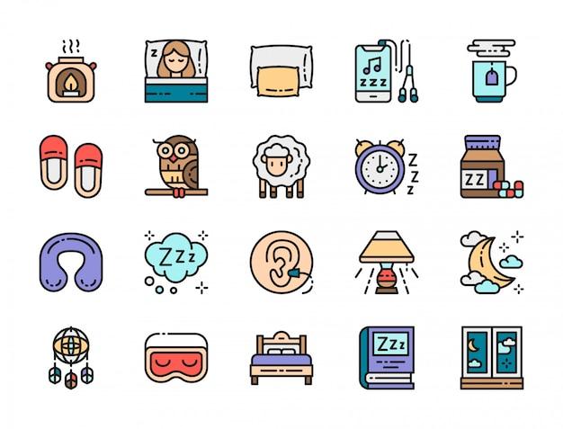Conjunto de ícones de cores planas do sono.