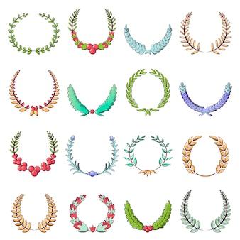 Conjunto de ícones de coroa de louro