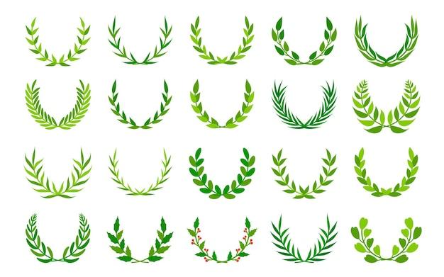 Conjunto de ícones de coroas de prêmio vintage com folhagem verde e ornamento floral em volta de quadros de louro ou ramo de oliveira