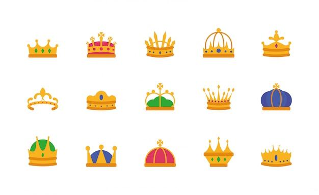 Conjunto de ícones de coroas isoladas vector design