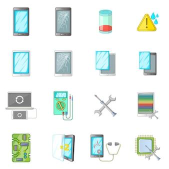 Conjunto de ícones de correção de telefones quebrados
