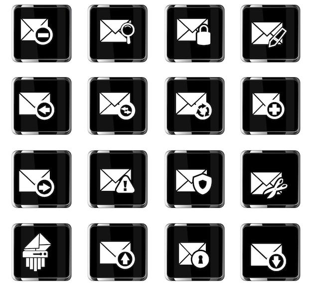 Conjunto de ícones de correio e envelope para sites e interface do usuário