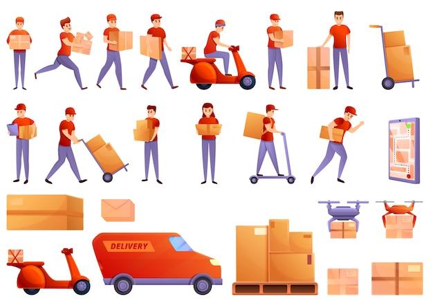 Conjunto de ícones de correio, estilo cartoon