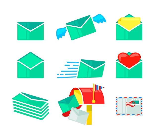 Conjunto de ícones de correio