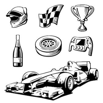 Conjunto de ícones de corrida de carros. capacete, roda, pneu, velocímetro, copo, bandeira, ilustração em vetor plana isolada no fundo branco.