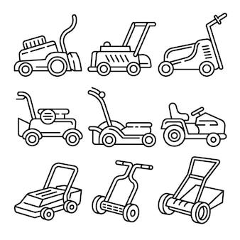 Conjunto de ícones de cortador de grama, estilo de estrutura de tópicos