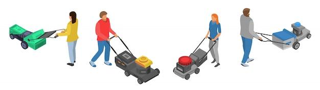 Conjunto de ícones de cortador de grama, estilo isométrico