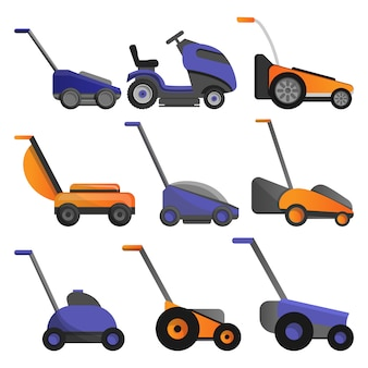 Conjunto de ícones de cortador de grama