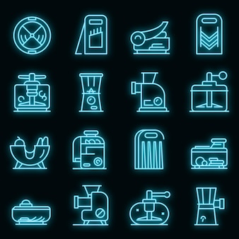Conjunto de ícones de cortador de vegetais. conjunto de contorno de ícones de vetor de cortador de vegetais, cor de néon no preto