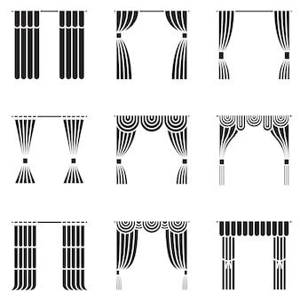 Conjunto de ícones de cortinas pretas.
