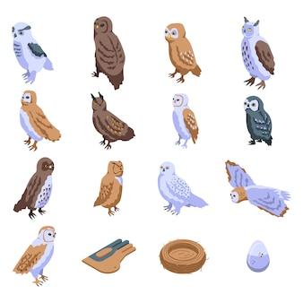 Conjunto de ícones de coruja, estilo isométrico