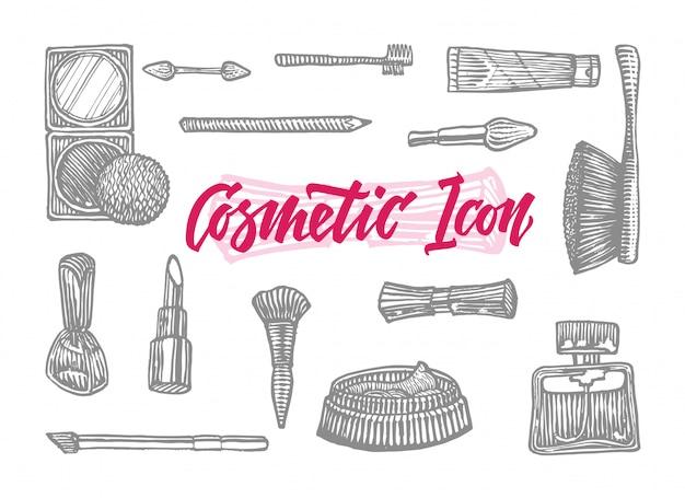 Conjunto de ícones de cosméticos desenhados à mão