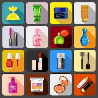 Conjunto de ícones de cosméticos.