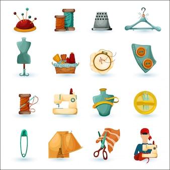 Conjunto de ícones de costura