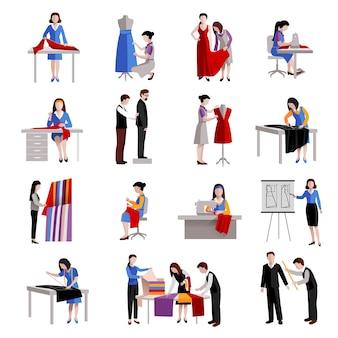 Conjunto de ícones de costureira