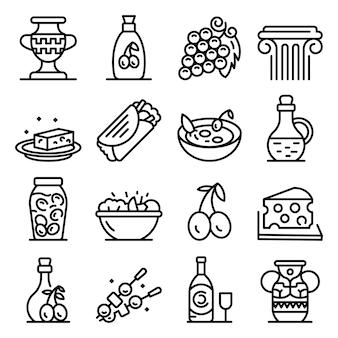 Conjunto de ícones de cozinha grega, estilo de estrutura de tópicos