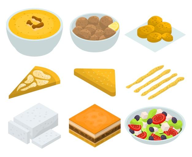 Conjunto de ícones de cozinha grega, estilo isométrico