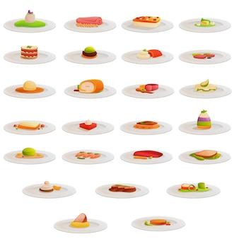 Conjunto de ícones de cozinha molecular, estilo cartoon