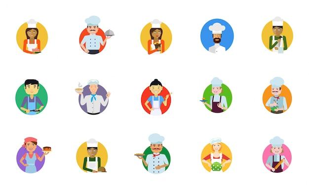 Conjunto de ícones de cozinhar pessoas