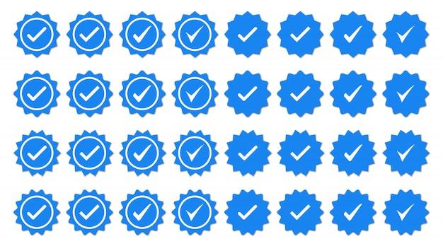 Conjunto de ícones de crachá de marca de seleção azul. ícones de verificação de perfil