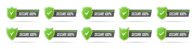 Conjunto de ícones de crachá seguro verde com sombra