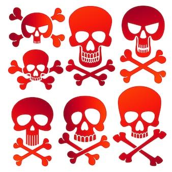 Conjunto de ícones de crânios humanos perigo cores crânios