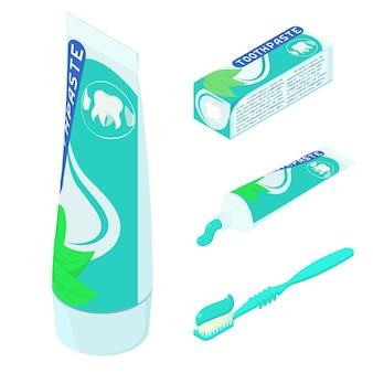 Conjunto de ícones de creme dental, estilo isométrico