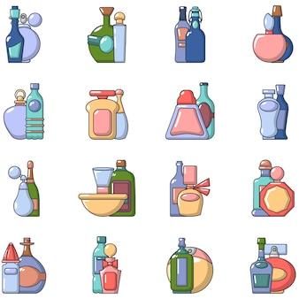 Conjunto de ícones de creme, estilo cartoon