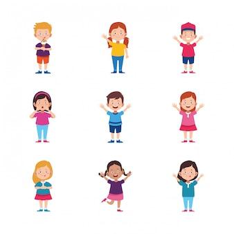 Conjunto de ícones de crianças felizes dos desenhos animados