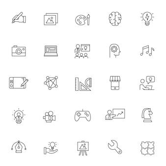 Conjunto de ícones de criatividade com contorno simples