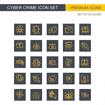 Conjunto de ícones de crime cibernético vector